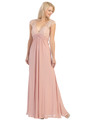 E2383 Lace Top Empire Waist Plunge Neckline Evening Dress - Dusty Rose, Front View Thumbnail