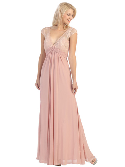 E2383 Lace Top Empire Waist Plunge Neckline Evening Dress - Dusty Rose, Front View Medium