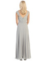 E2383 Lace Top Empire Waist Plunge Neckline Evening Dress - Silver, Back View Thumbnail