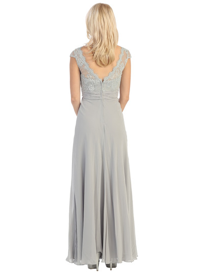 E2383 Lace Top Empire Waist Plunge Neckline Evening Dress - Silver, Back View Medium