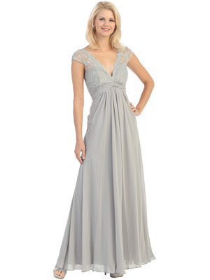 E2383 Lace Top Empire Waist Plunge Neckline Evening Dress, Silver