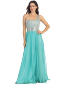 One Shoulder Sparkling Top Evening Dress