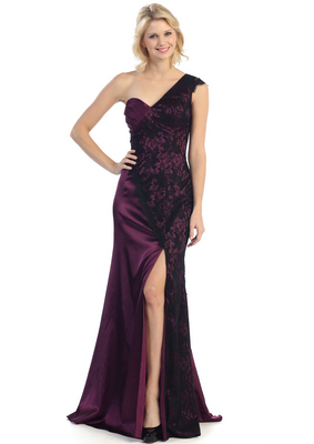 E2421 Satin and Lace Evening Dress with Slit, Purple Black