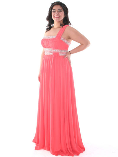 E2426 One Shoulder Chiffon Prom Dress - Coral, Front View Medium