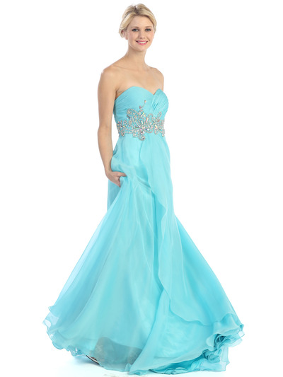 E2427 Strapless Pleated and Jeweled Prom Dress - Turquoise, Front View Medium