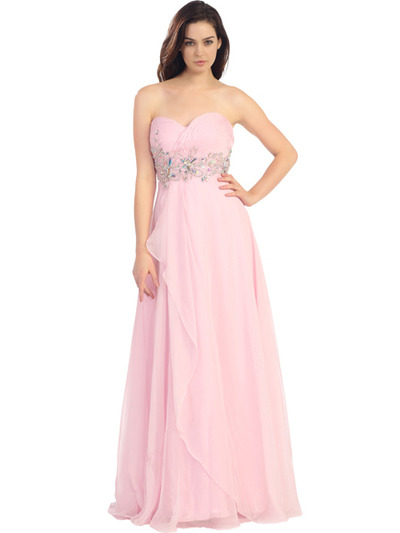 E2427 Strapless Pleated and Jeweled Prom Dress - Baby Pink, Front View Medium