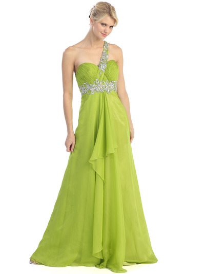 E2428 One Shoulder Cut Out Prom Dress - Lime Green, Front View Medium