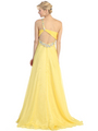 E2428 One Shoulder Cut Out Prom Dress - Yellow, Back View Thumbnail
