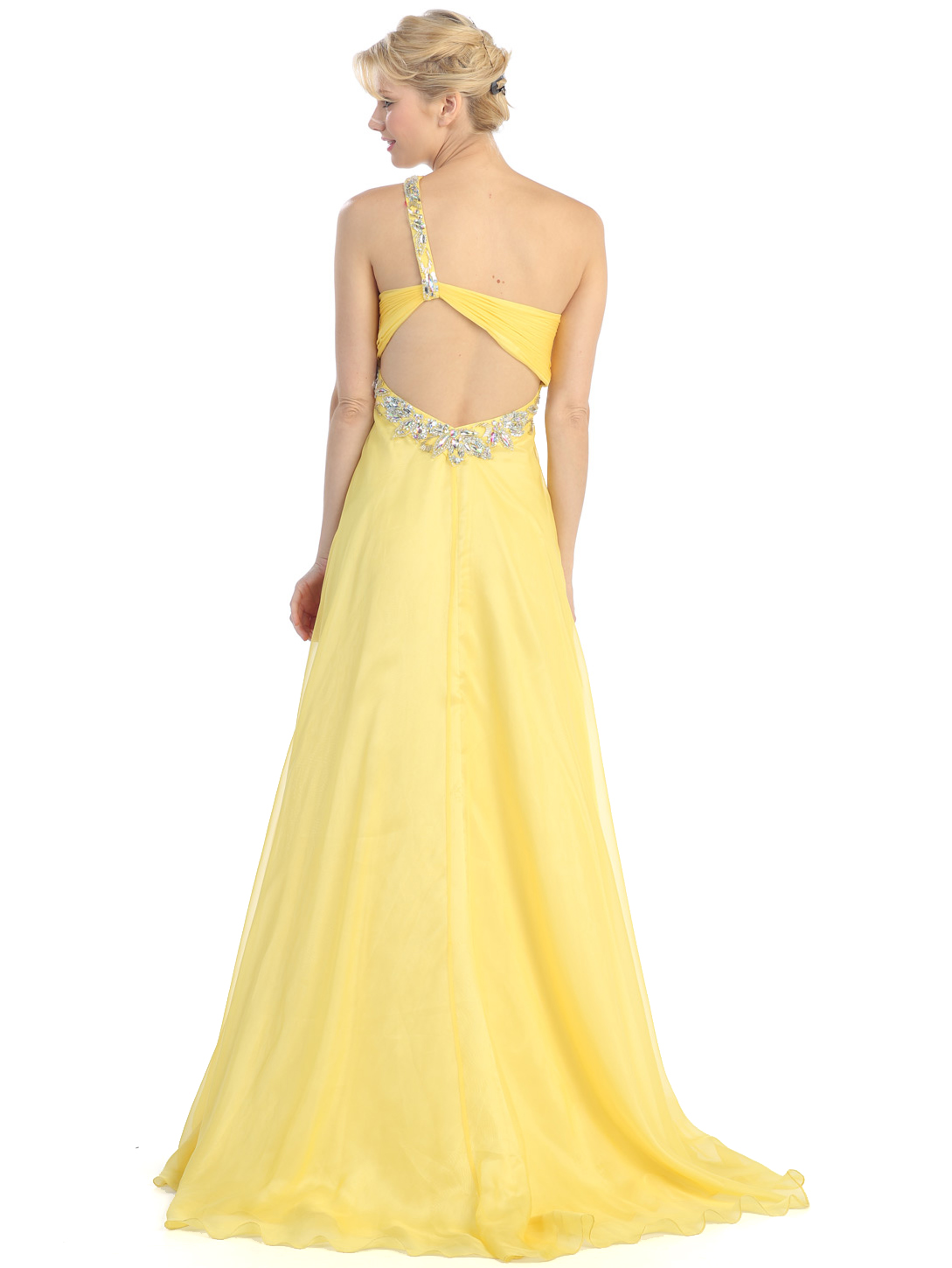 Yellow Cut Out Prom Dresses Dress On Sale