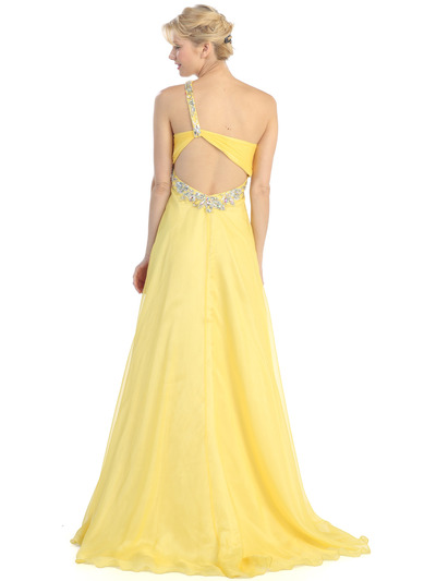 E2428 One Shoulder Cut Out Prom Dress - Yellow, Back View Medium