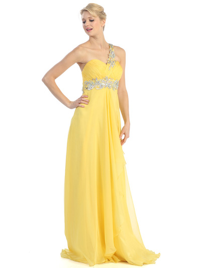 E2428 One Shoulder Cut Out Prom Dress - Yellow, Front View Medium