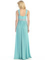 E2440 Pleats and Beads Evening Dress - Mint, Back View Thumbnail