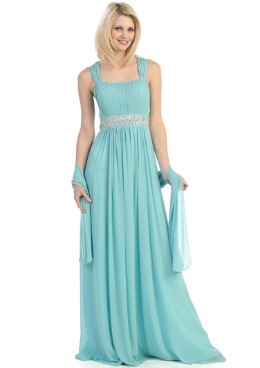E2440 Pleats and Beads Evening Dress - Mint, Front View Medium