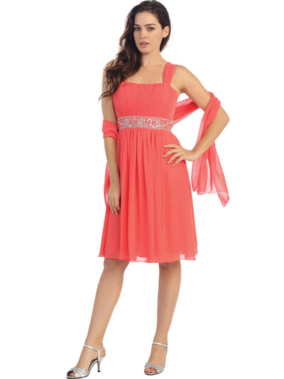 E2450 Empire Waist Cocktail Dress - Coral, Front View Medium