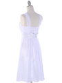 E2460 Pleated Graduation Dress - White, Back View Thumbnail
