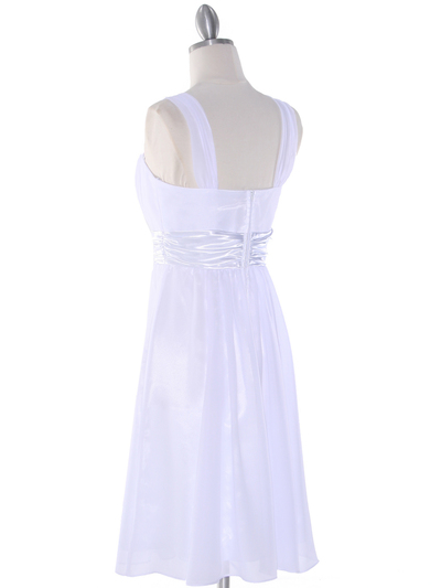 E2460 Pleated Graduation Dress - White, Back View Medium