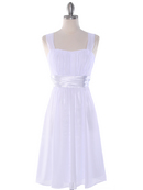E2460 Pleated Graduation Dress, White