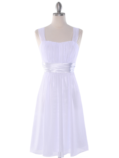 E2460 Pleated Graduation Dress - White, Front View Medium