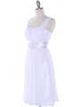 E2460 Pleated Graduation Dress - White, Alt View Thumbnail