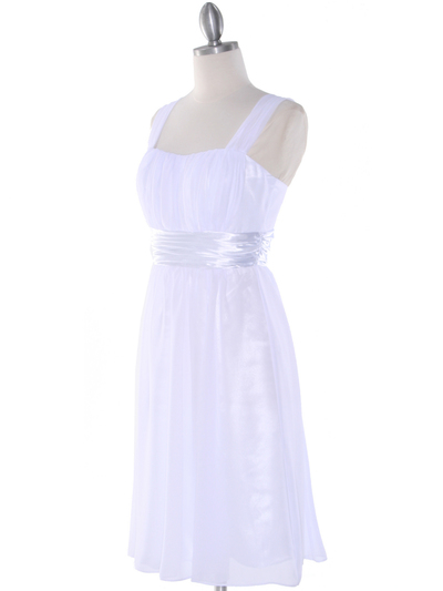 E2460 Pleated Graduation Dress - White, Alt View Medium