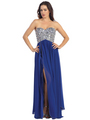 E2500 Empire Waist Large Stone Embellished Bodice Prom Dress - Royal Blue, Front View Thumbnail