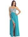 E2500 Empire Waist Large Stone Embellished Bodice Prom Dress - Turquoise, Front View Thumbnail