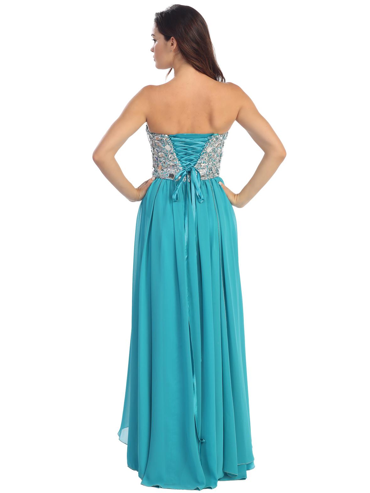 Empire Waist Large Stone Embellished Bodice Prom Dress   Sung ...