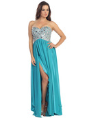Empire Waist Large Stone Embellished Bodice Prom Dress