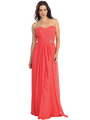 E2505 Sweetheart Swirl Pleated Bodice Evening Gown - Coral, Front View Thumbnail