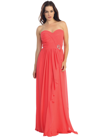 E2505 Sweetheart Swirl Pleated Bodice Evening Gown - Coral, Front View Medium