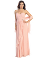E2505 Sweetheart Swirl Pleated Bodice Evening Gown - Dusty Pink, Front View Thumbnail