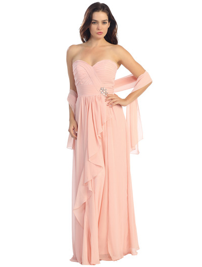 E2505 Sweetheart Swirl Pleated Bodice Evening Gown - Dusty Pink, Front View Medium