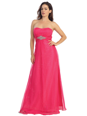 E2507 A-line Chiffon Over Sparkling Sequin Evening Dress, Fuschia