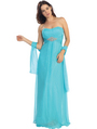 E2507 A-line Chiffon Over Sparkling Sequin Evening Dress - Turquoise, Front View Thumbnail