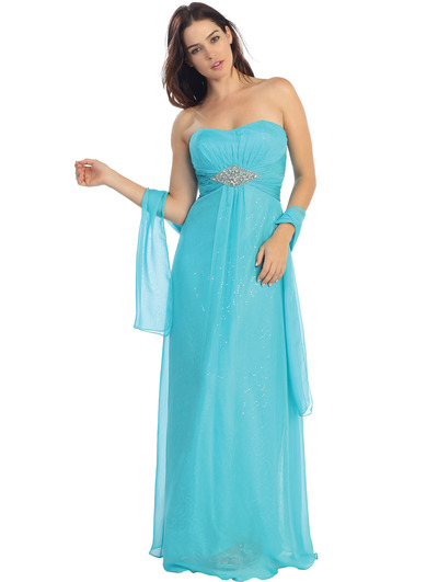 E2507 A-line Chiffon Over Sparkling Sequin Evening Dress - Turquoise, Front View Medium