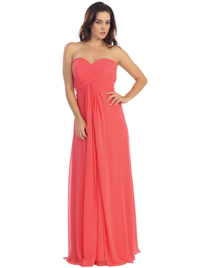 E2600 Empire Waist Pleated Bodice Chiffon Bridesmaid Dress - Coral, Front View Medium