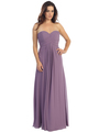E2600 Empire Waist Pleated Bodice Chiffon Bridesmaid Dress - Dusty Pink, Front View Thumbnail