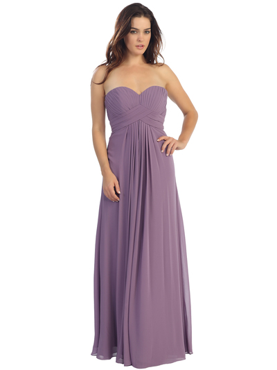 E2600 Empire Waist Pleated Bodice Chiffon Bridesmaid Dress - Dusty Pink, Front View Medium
