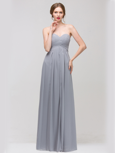 E2600 Empire Waist Pleated Bodice Chiffon Bridesmaid Dress - Silver, Front View Medium