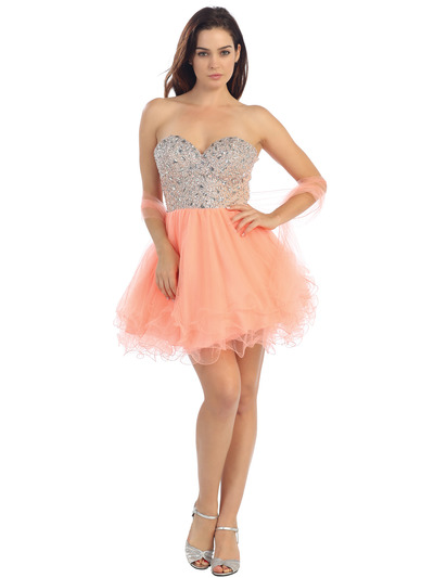 E2602 Sweethear Jeweled Bodice Homecoming Dress - Apricot, Front View Medium