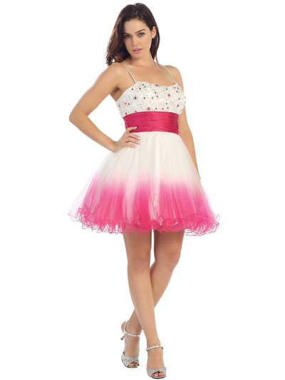 E2613 Two Tone Beaded Bodice Homecoming Dress - White Fuschia, Front View Medium
