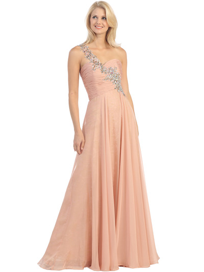E2628 Jeweled One Shoulder Evening Gown - Dusty Pink, Front View Medium