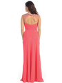 E2666 Illusion Neckline Open Back Chiffon Evening Dress - Coral, Back View Thumbnail