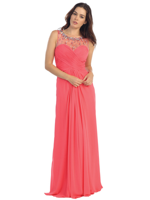E2666 Illusion Neckline Open Back Chiffon Evening Dress, Coral