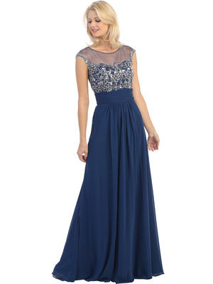 E2676 Illusion Yoke Evening Dress, Navy