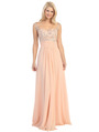 E2676 Illusion Yoke Evening Dress - Peach, Front View Thumbnail