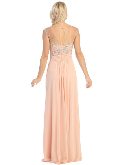 E2676 Illusion Yoke Evening Dress - Peach, Back View Medium
