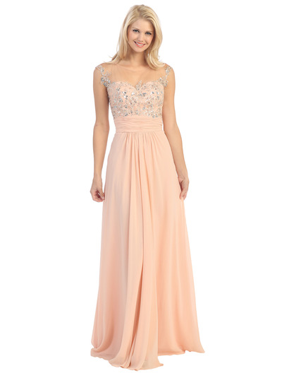 E2676 Illusion Yoke Evening Dress - Peach, Front View Medium