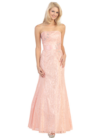 E2705 Strapless Lace Overlay Evening Dress with Sash - Dusty Pink, Front View Medium