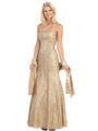 E2705 Strapless Lace Overlay Evening Dress with Sash - Gold, Front View Thumbnail